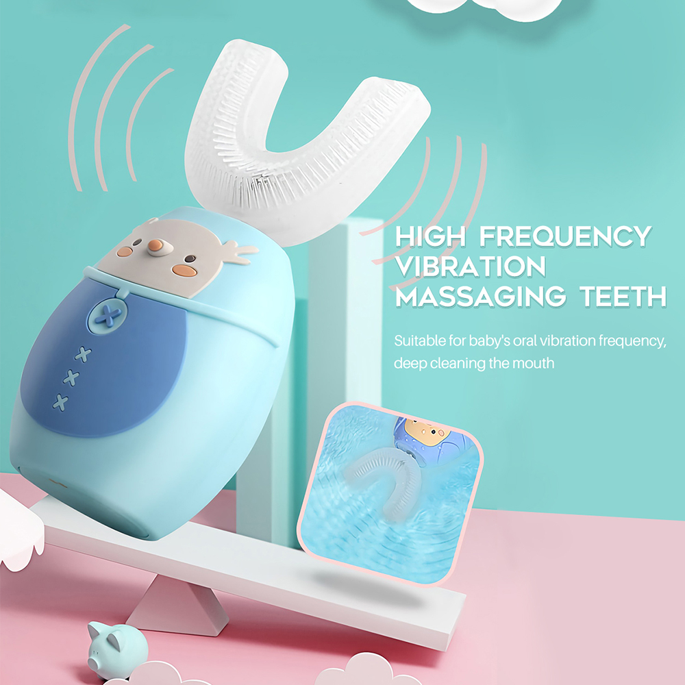 U 360 Sonic Electric Toothbrush for Children Cartoon Pattern USB Charging Silicone Kids Teeth Brush Tooth Whitening Waterproof