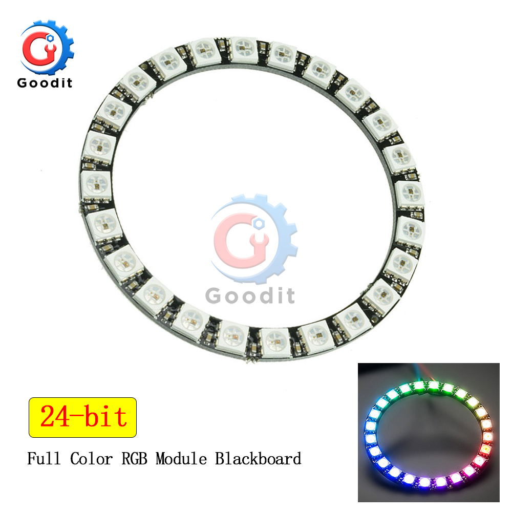 WS2812B Module Strip 24 Bits 24 X WS2812 5050 RGB LED Ring Lamp Light With Integrated Drivers RGB 24 For Arduino LED Module