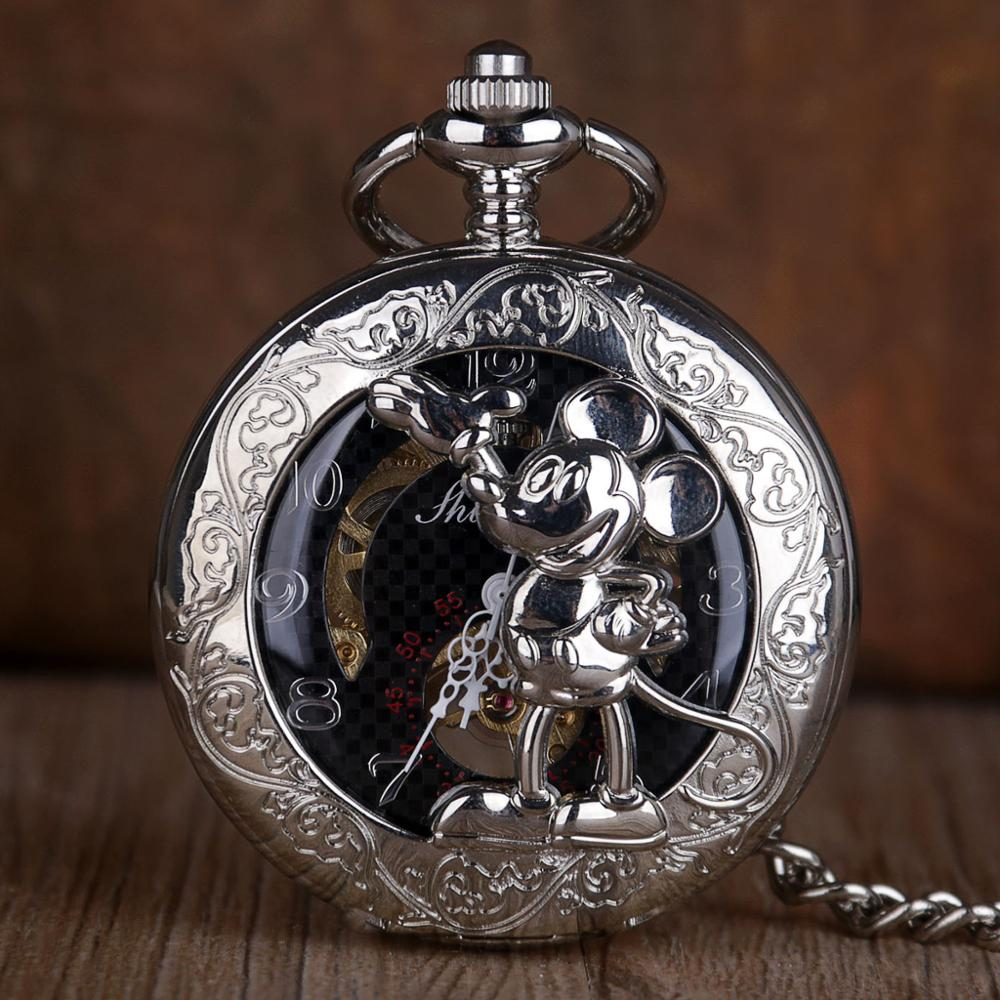 Vintage Mechanical Pocket Watch Silver Mouse Hollow Skeleton Roman Numerals Pocket Watches Watch With Fob Chain For Mens Womens