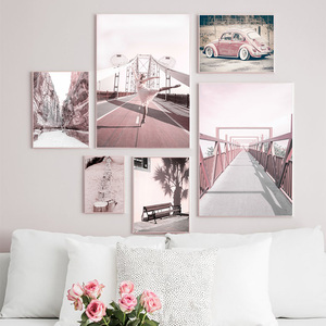 Pink Bridge Beach Car Ballet Girl Tree Wall Art Canvas Painting Nordic Posters And Prints Wall Pictures For Living Room Decor