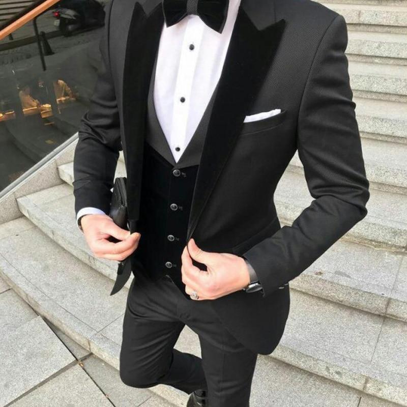 Slim Fit Mens Suits For Wedding Prom Party With Black Velvet Lapel Groom Tuxedos 3 Piece Formal Man Set Jacket Pants Vest Latest