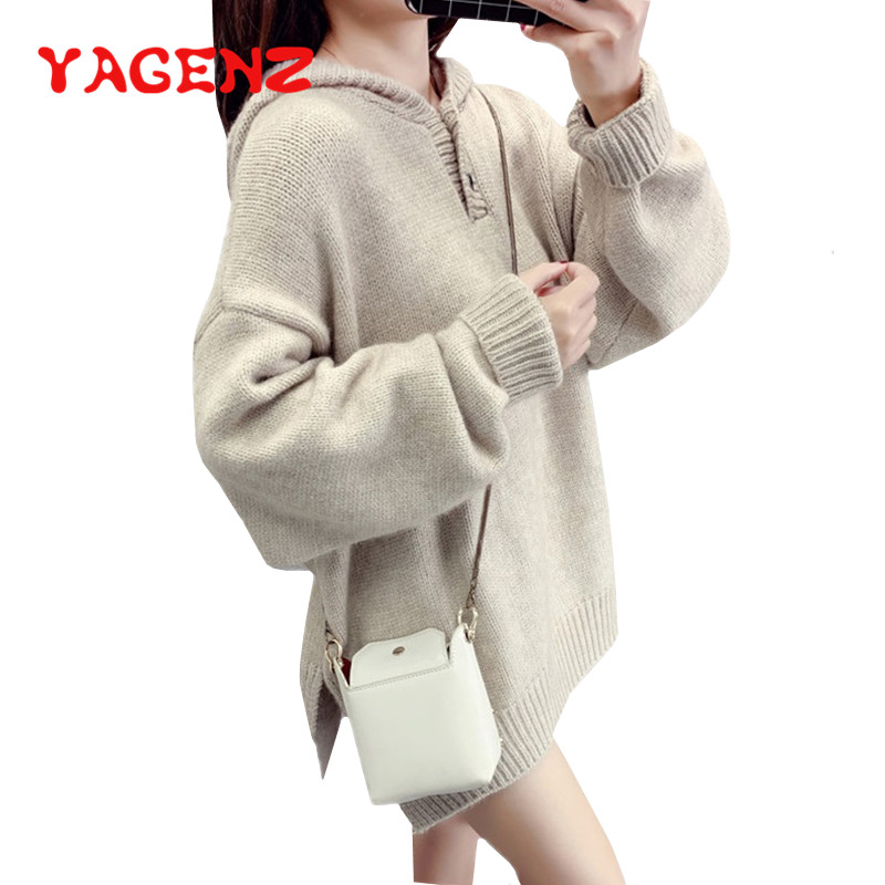YAGENZ Casual Plus Size Pullover Sweater Coats Solid Color Harajuku Womens Winter Autumn Fashion Hooded Knit Sweaters Female 479