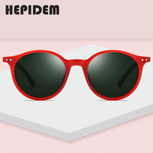 Hepidem acetato polarizado óculos de sol masculino vintage retro redondo óculos de sol para mulher design da marca transparente transparente 9116