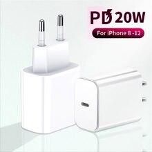 شاحن سريع 20 واط لهاتف آيفون 12 برو ماكس 11 12 Mini XR XS X 8 Plus PD شحن USB C شاحن محول لجهاز iPad Pro Air 4 2020 20 واط