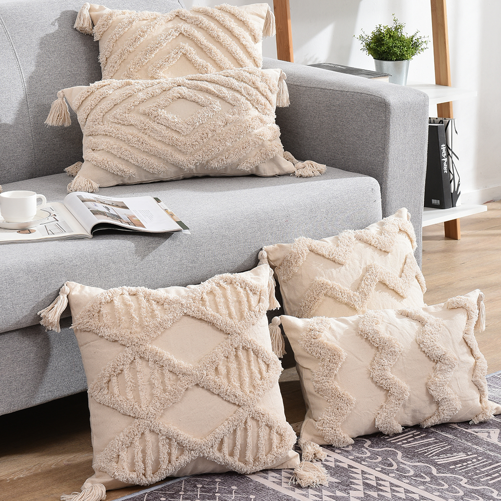 Tassels Decorative Cushion Cover 45x 45cm/30x50cm Beige Sofa Pillow Case Cover Handmade Home Decoration for living Room Bed