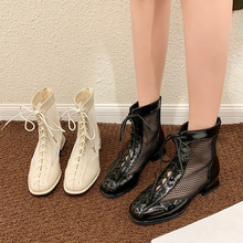 Summer Net Boots Female Fashion  Hollow Thick With Student Lady  Boots Net Red Tide Wild Low Heel Martin Woman Sandals gykz the original design of neutral retro metal zipper low heel roman woman lady women s cool boots sandals
