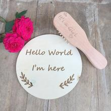Baby Shower gifts Birthday New coming party Gift its a Girl comb wooden hello word Im here favor