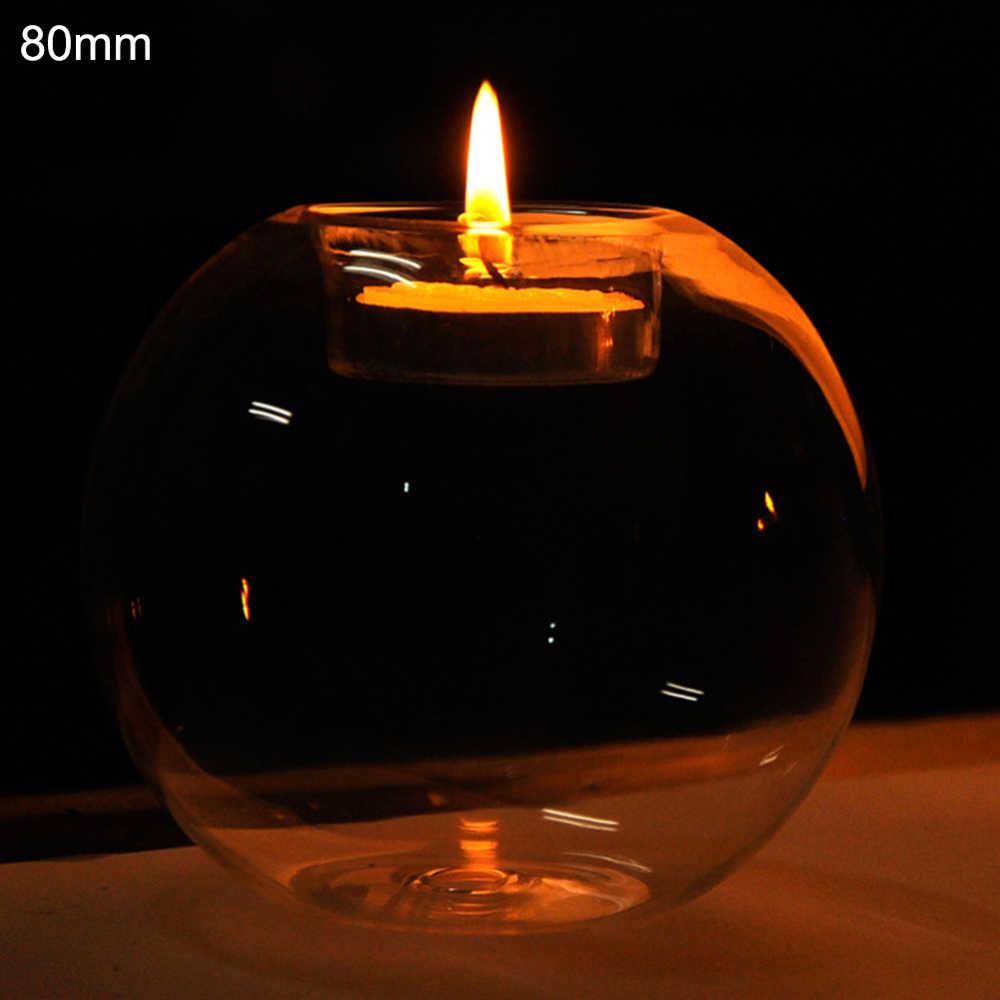 גדול קריסטל כדור פמוט ארוזות מראש אלגנטי כבד מוצק Tealight מחזיק מרכזי עיצוב הבית יום נישואים