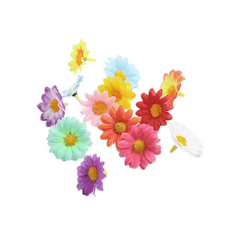 العشب الروطان الديكور ديزي زهرة رؤساء البسيطة الحرير الزهور الاصطناعية ل اكليلا سكرابوكينغ ديكورات منزلية لحفل الزفاف