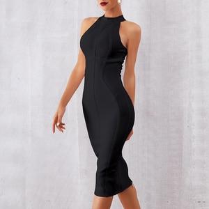 Image 4 - Seamyla сексуальное женское белое Бандажное платье 2020 Новое поступление полосатые обтягивающие платья миди без рукавов Клубное платье для вечеринок