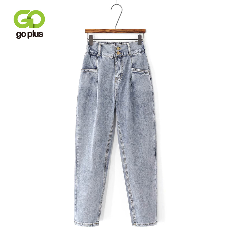 GOPLUS Elastic High Waist Jeans Boyfriends Plus Size Women Denim Harem Pants Pockets Mom Jeans Femme 2020 Nouveau Jeansy Damskie