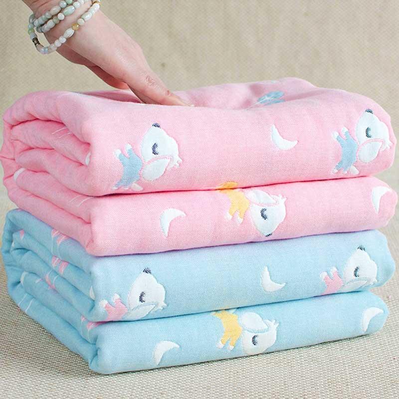 4 Layers Baby Blankets For Newborn Muslin Cotton Thick Swaddle Baby Blanket 110*110cm Baby Swaddle Baby Quilt Bath Towel Toy Mat