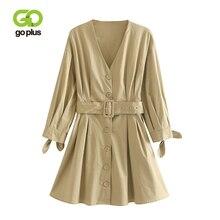 GOPLUS Womens Dress Cotton Vintage Long Sleeve Dresses Elegant Plus Size Women Belt Shirt Ropa Mujer Sukienki Robe Femme