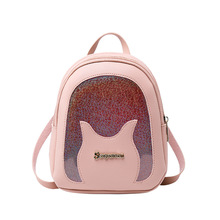Fashion Small Sequin Backpack Women Contrast Color Pu Leathe