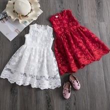 Big Red Girls Dresses Costumes Children's Clothing New Sleeveless Lace Tulle Dress Kids Summer Korean-Style Vest Princess Dress