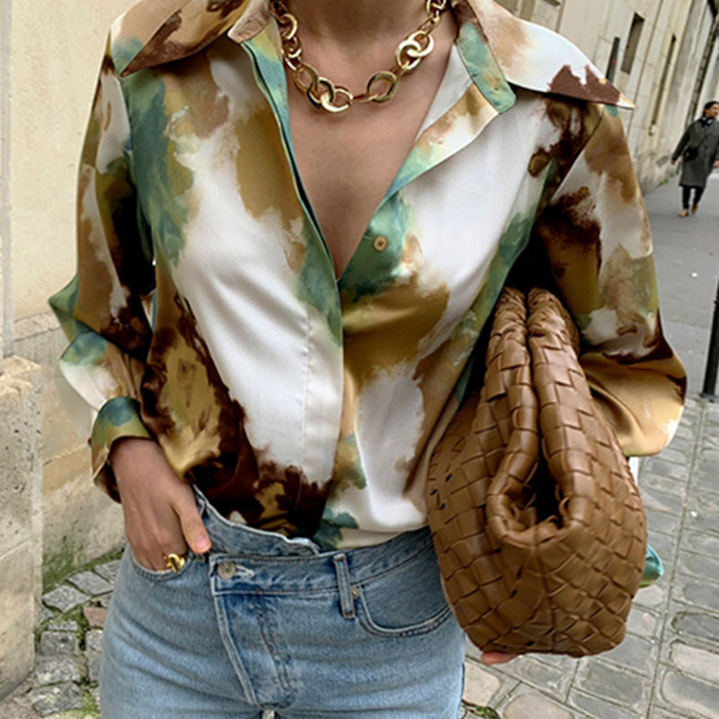[EWQ] 2021 Spring Women Fashion Vintage Blouse Turn-down Collar Long-sleeved Long Sleeve Panelled Green Print Loose Shirt 8Y050