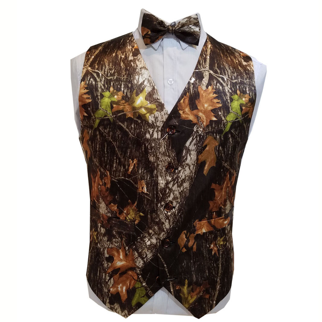 Groom Wear Camouflage Tuxedo Vests White Camo Wedding Vests Men Camo Formal Free Shipping