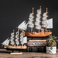 With LED Light Caribbean Black Pearl Corsair Sailing Boats Wooden Sailboat Model Home Decoration Accessories for Living Room