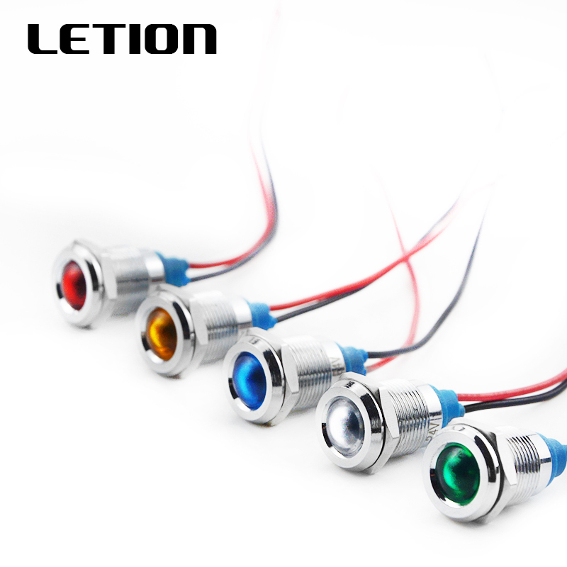 1PCS 12mm LED Metal Indicator Light Waterproof IP67 Signal Lamp 6V 12V 24V 220V Red Yellow Blue Green White Free Shipping