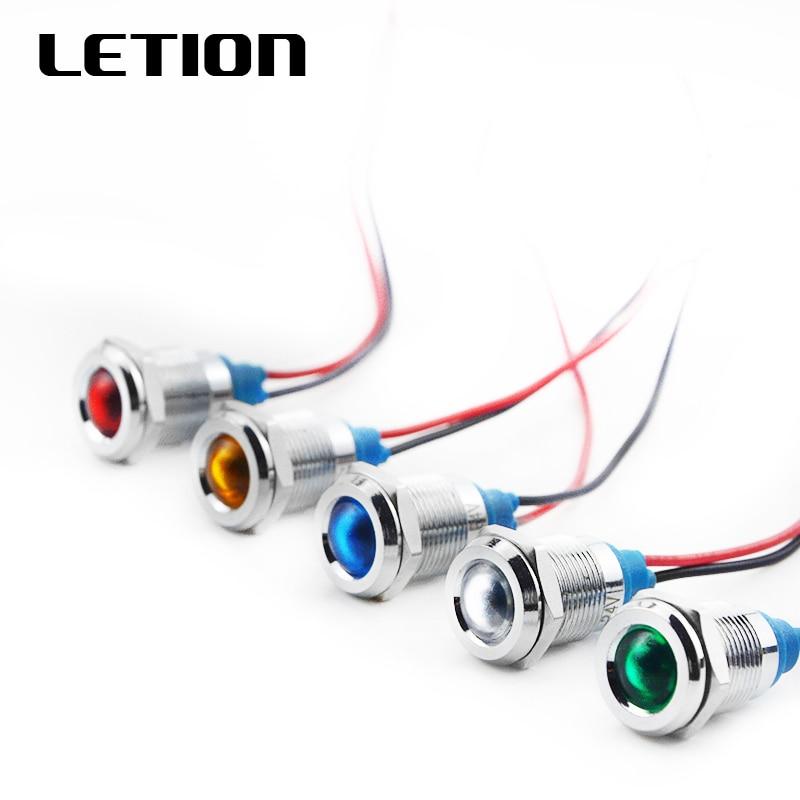1PCS 12mm LED Metal Indicator Light Waterproof IP67 Signal Lamp 6V 12V 24V 220V Red Yellow Blue Green White Free Shipping