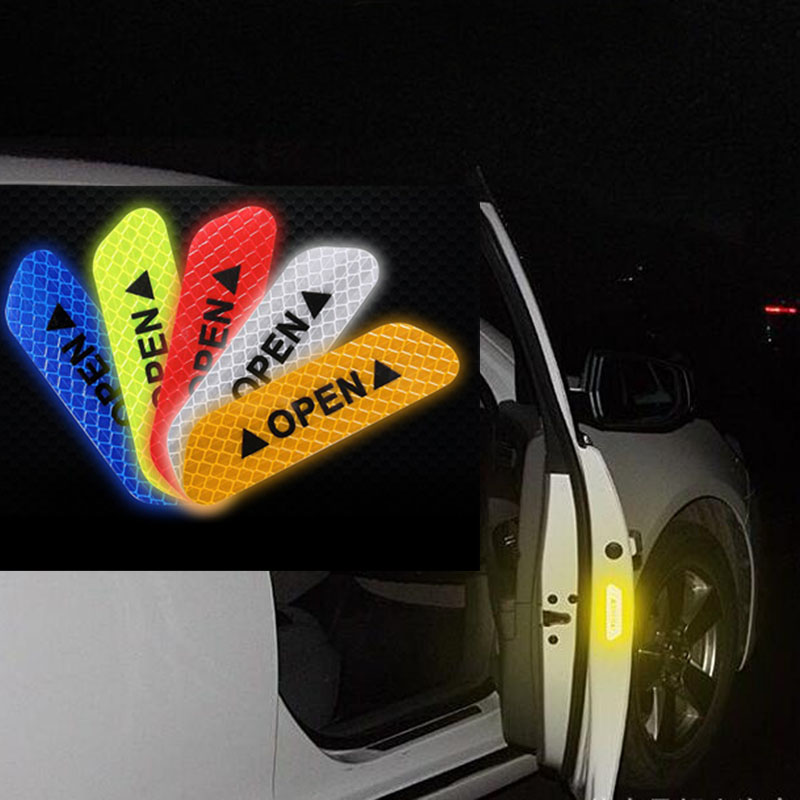 4X//set Red Car OPEN Reflective Sticker Night Safety Tape Auto Decal Warning Sign