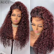 ALICE Ombre Curly Lace Front Human Hair Wigs 99J Red Burgundy 150% Density With Baby Hair Non-Remy Lace Part For Women