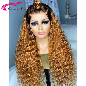 Image 4 - Honey Blonde Ombre Curly Lace Front Human Hair Wigs With Baby Hair 13x6 Lace Front Wig 180% Ombre Brown 360 Lace Frontal Wigs