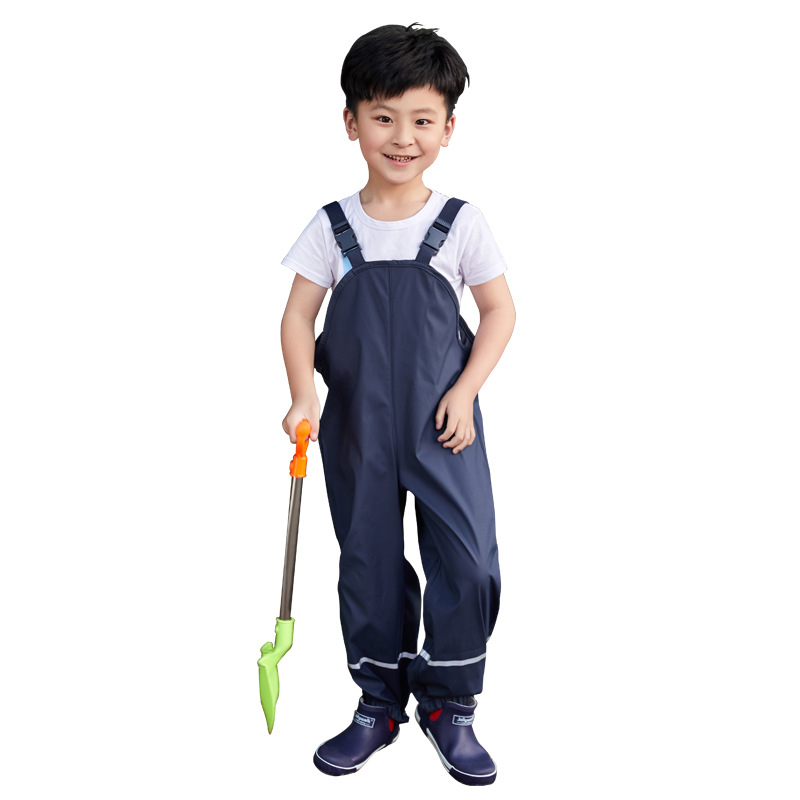 Children Waterproof Overalls Baby Boys Girls Trousers Children Waterproof Pants Kids Rain Pants For Autumn And Winter Four Color Raincoats     - title=