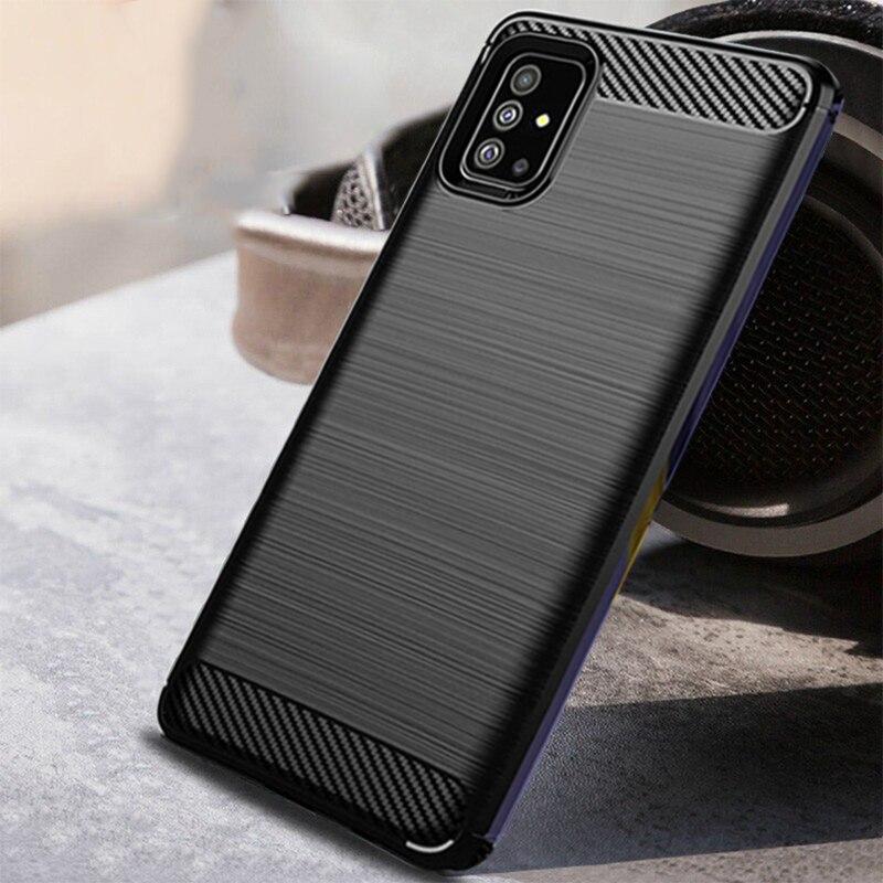 Carbon Fiber Case For Samsung Galaxy A51 A71 Case Silicone Phone Cover Soft Case For Samsung A51 A71 Case Full Protection Fundas