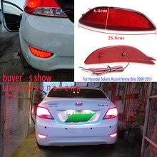 цена на For Hyundai Solaris Accent Verna Brio 2008-2015 2pcs Rear Bumper Reflectors tail Light LED Bulbs Warning lights Stop Brake Lamps