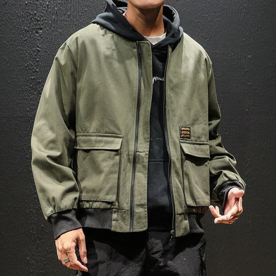 Черная джинсовая повседневная мужская куртка с карманами, мужские джинсовые куртки, Мужская модная Японская уличная одежда, хлопок, 5xl, HH50JK - 4