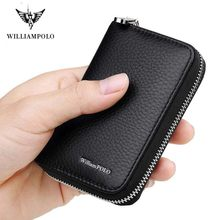 WILLIAMPOLO Men Credit Card Holders Luxury Brand Real Leather Card Wallet Fashion Zipper Design Id Holder Card Bag Cow Leather(China)