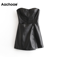 Aachoae Sexy Backless Black Pu Leather Jumpsuit Women Buttons Solid Skinny Party Playsuit Lady Sleev