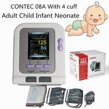 CONTEC08A z 4 mankietami CE FDA cyfrowy ciśnieniomierz kolorowy wyświetlacz LCD dorosły niemowlę noworodek mankiet