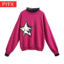 Net Red Fashion Stitching Lace Sequins Tide Round-collar Korean Version Loose Women pink sexy streets trend Sweatshirt