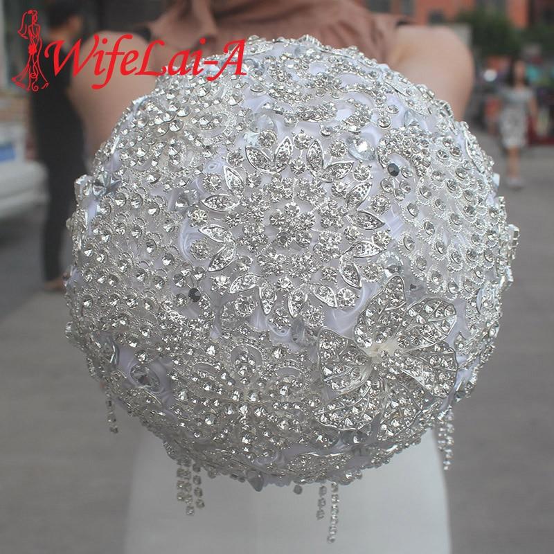 WifeLai-A Gorgeous Full Diamond Rhinestone Bride Holding Flowers Luxury Bouquet Handmade Ribbon Flower Wedding Bouquets W099M