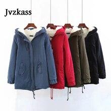 Jvzkass 2019 new winter long loose hooded large fur collar coat tooling cotton womens plus velvet thickening Z326