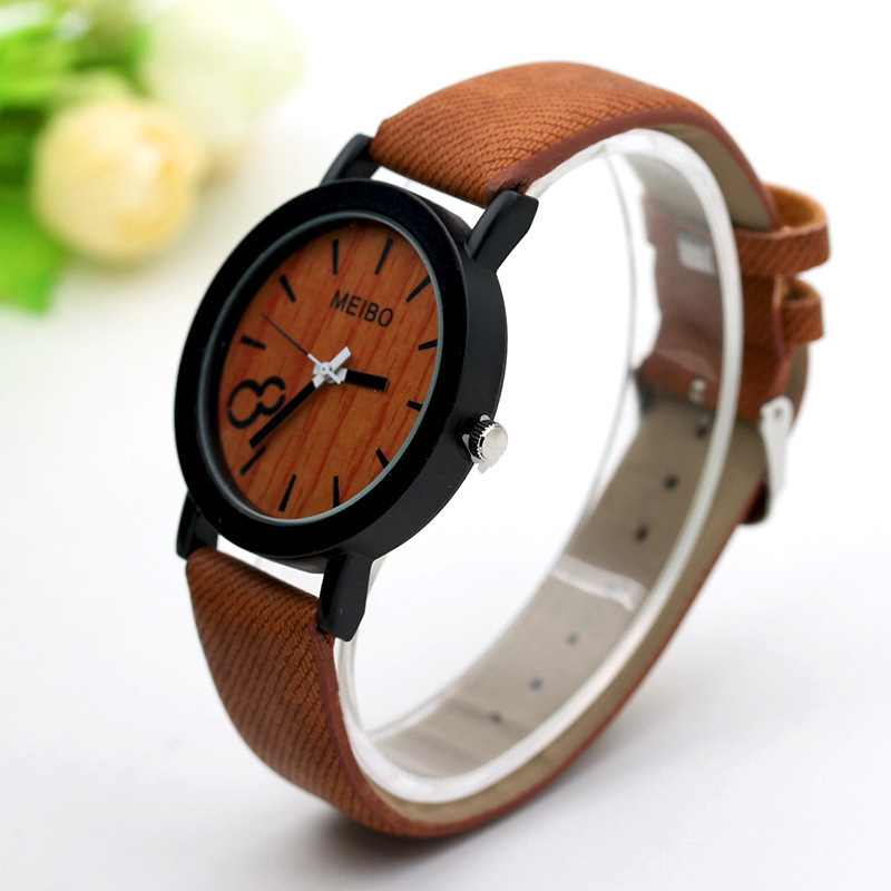 Wechat Business Hot Selling New Style 8-Word Wood Grain-Style Unisex Simple Casual Leather Belt Stone Bell Watch