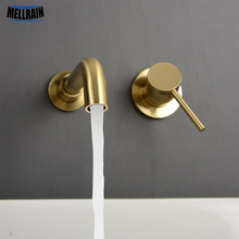 Minimalism Bathroom Faucet Single Handle Wall Mounted Black & Brushed Gold Water mixer Tap 360 Degree Rotatable