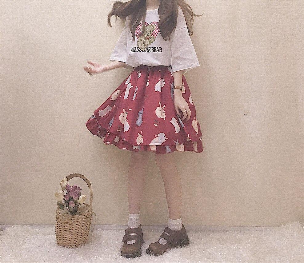 Japanese Cute Bunny Girl Tutu Skirt Harajuku Soft Sister Hight Waist Lolita Mini Skirts Kawaii Rabbit Ruffle Red Skirt Black