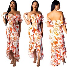 2019 Summer New Women Two Piece Set Casual Sexy Ruffles Crop Top Irregular Maxi Skirts Floral Print Suits Bow Beach Outfits