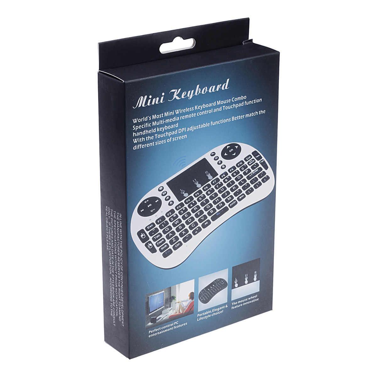 2.4G Mini Draadloze Toetsenbord Tv Afstandsbediening 7 Kleuren Backlit Air Mouse Engels/Russisch/Spaans/Frans toetsenbord Voor Android Tv