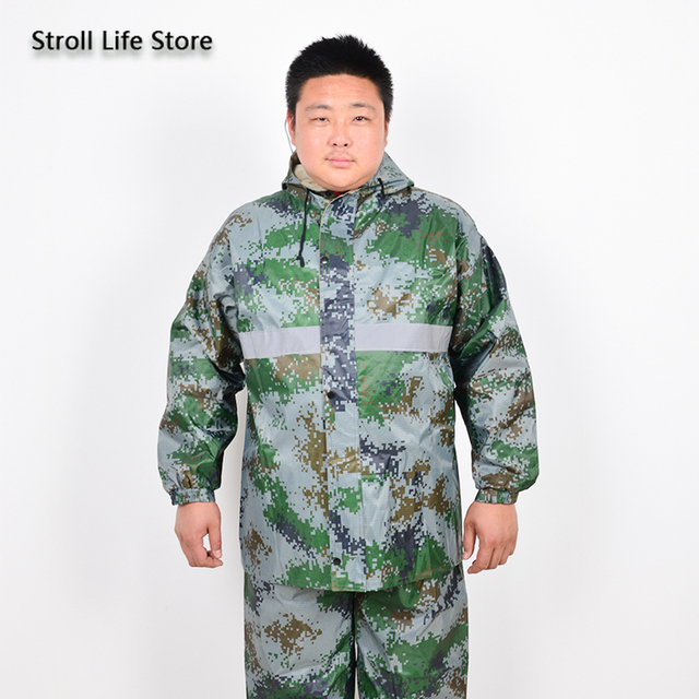 Extra Large Size Motorcycle Raincoat Men Rain Pants Camouflage Rain Coat Fat People Waterproof Suit Rain Cover Impermeable Gift 5