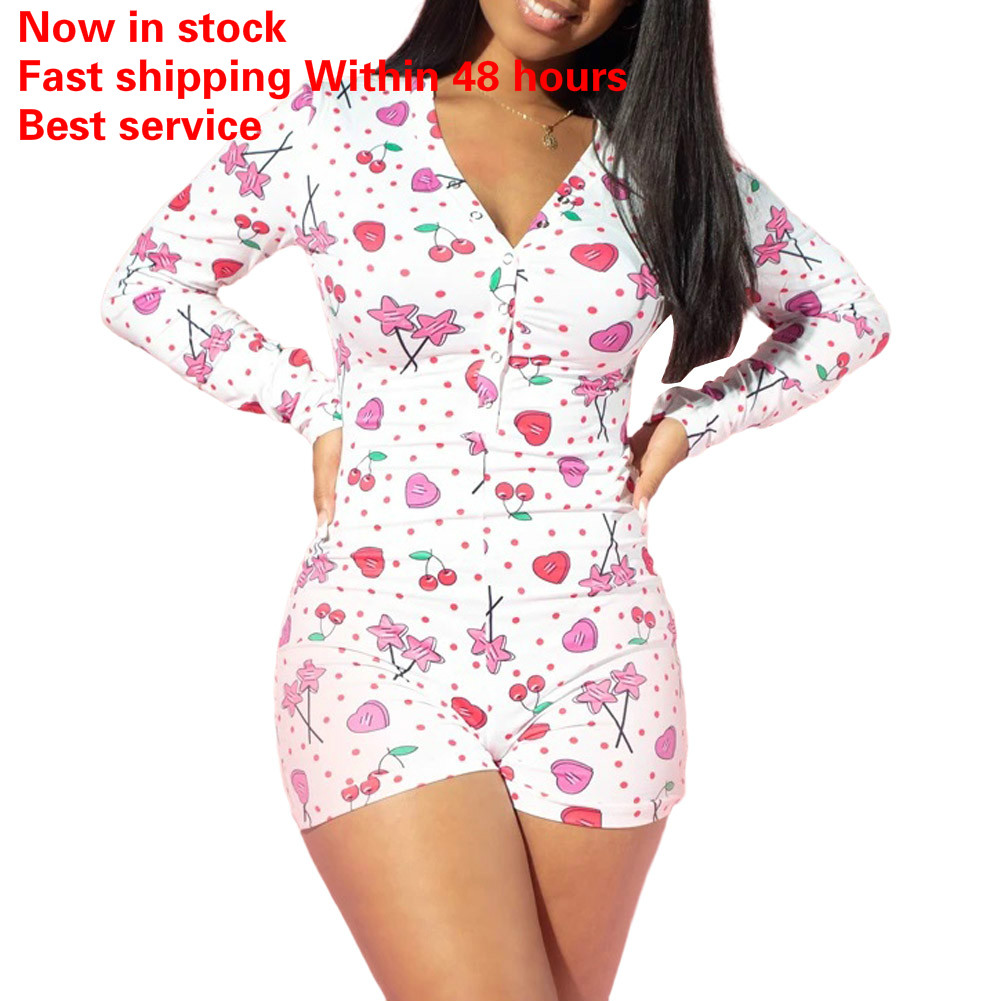 Women's Sexy Deep V Neck Shorts Jumpsuit Floral Long Sleeve Home Wear Bodysuit One Piece Pajama Overall Outfits