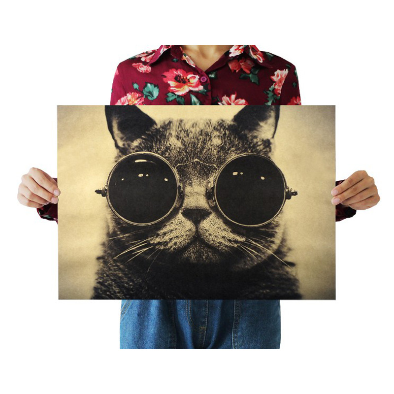 Cool Cat Black Glasses Decor Vintage Kraft Paper Classic Movie Poster Map School Wall Office Decoration Art Retro Prints