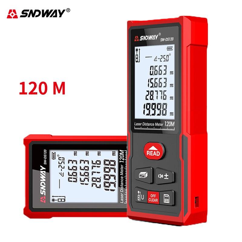 Sndway telêmetro a laser roleta distância medida a laser 50m 70m 100m 120m digital medidor de distância régua lazer fita range finder