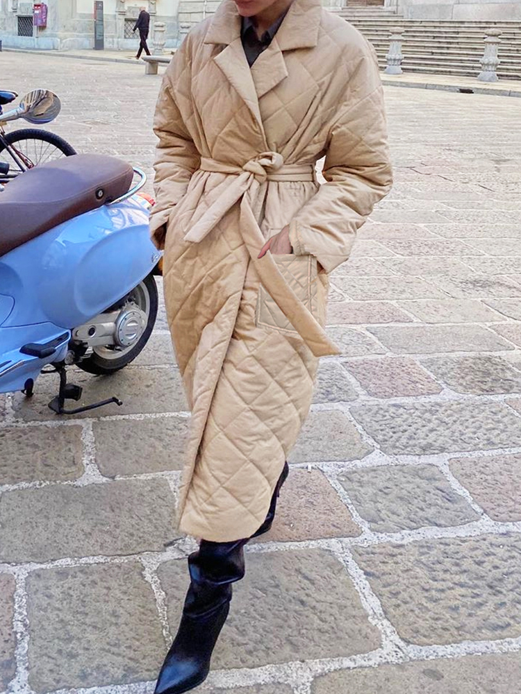 Winter Coat Outerwear Simplee Tailored Collar Women Parkas Straight Long Casual Stylish