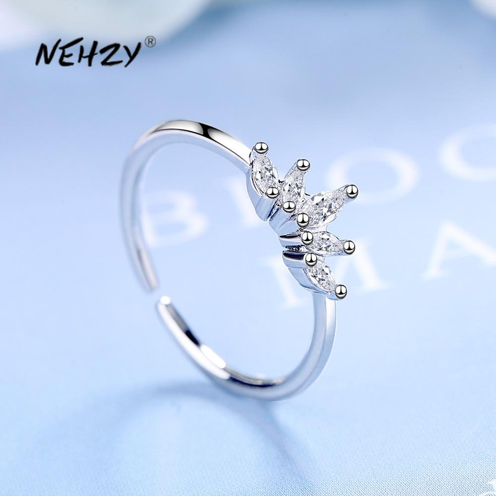 NEHZY 925 en argent Sterling nouvelle femme bijoux de mode de haute qualité cristal Zircon couronne anneau ouvert taille réglable anneau