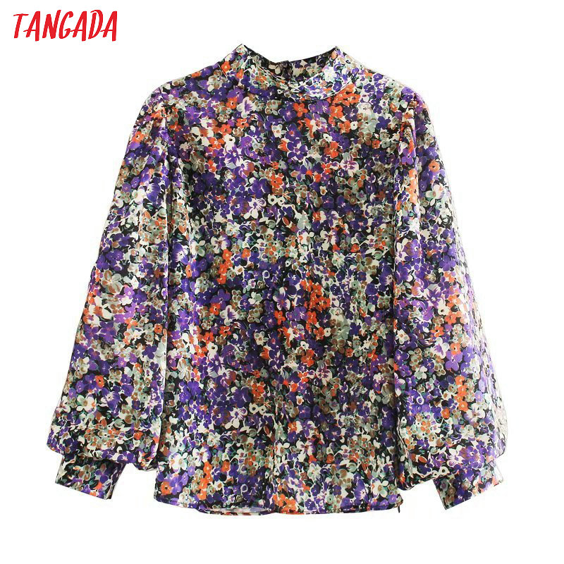 Tangada Women Retro Purple Print Turtleneck Blouse Puff Sleeve Chic Female Casual Loose Shirt Blusas Femininas 5Z111