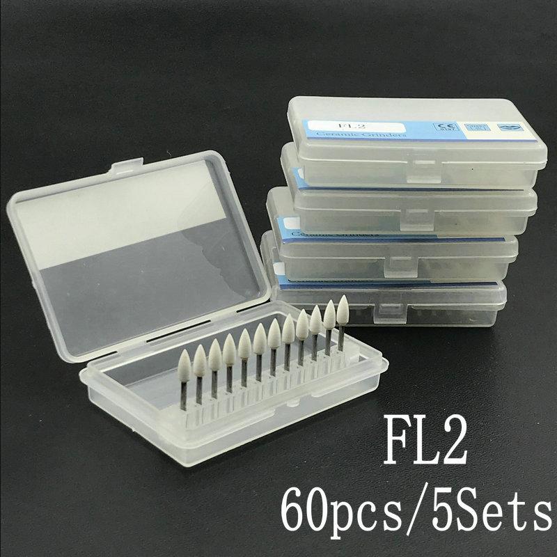 60Pcs/5Sets Dental Flame Mounted White Stone Dental Lab Polishing Burs- FG  Dental Material